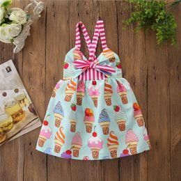 $enCountryForm.capitalKeyWord Australia - Sweet Baby Girls Stripe Bow Suspender dress Summer ice cream Printed Kids Backless Sundress Fashion Children Princess Dress Y1551