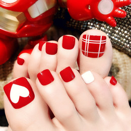 french nails toes Australia - 24Pcs Red Foot False Toenail Tips Set French Full Cover Fake Toe Nail Tips Nail Stickers Patches DIY Manicure Decoration