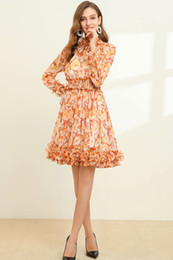Discount fashion station dresses European station Spring 2020 fashion show new high-end womens elegant print long-sleeved dress women