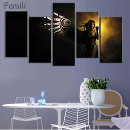 Ideas Decor NZ - 5pcs large HD printed oil painting Angel Girl canvas print art home decor idea wall art pictures for living room