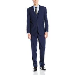 $enCountryForm.capitalKeyWord UK - Custom Made Navy Blue Men's Suit Three Piece Two Button Suit Groomsmen Wedding Suits For Men Groom Wear (Jacket+Pants+Vest)