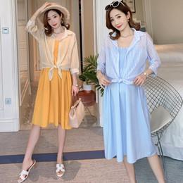 $enCountryForm.capitalKeyWord Australia - Blue Yellow Pregnant Women Dress Suits Fairy Stripe Sunscreen Shirts+srap Stretched Empire Dress Maternity Clothes Set Wholesale