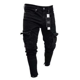 Mens jeans zippers knees online shopping - Mens Pencil Jeans Small Hole Zipped Solid New Fashion Washed European And American Wind Casual Style Pants