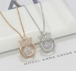 14k crown pendant Australia - Fashion High Quality Glitter Crystal Crown Pendant Necklace Elegant Gold Silver Long Chain Necklace Jewelry Hot Gift