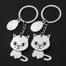 $enCountryForm.capitalKeyWord Australia - Cat Keychain Cute Car Key Ring for Women Man Kitten Animal Key Chain House Silver Key Holder Bag Pendant Charm