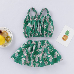 revealing clothes 2020 - New Baby Clothes Newborn Baby Girls Clothes Sets Fashion Infant Summer Pineapple Printing A Navel Revealing Tops+Skirts