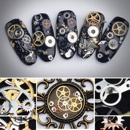 $enCountryForm.capitalKeyWord Australia - 3D Cool Metal Machinery Gear Nail Art Stickers Gold Metallic Charms DIY Decoration Manicure Tools