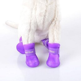 $enCountryForm.capitalKeyWord Australia - rain boots for dogs Hoomall 4PCs Silicone Waterproof Dog Shoes Candy Colour Rubber Rain Boots For Dog Pet Accessories Pet Clothes