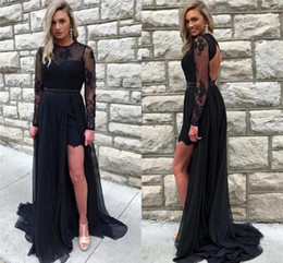 Light purpLe chiffon online shopping - Charming Lace Black Evening Dresses Jewel Neck Side Split Sweep Train Special Occasion Dresses With Illusion Long Sleeves Vestidos De Fiesta