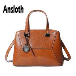 $enCountryForm.capitalKeyWord Australia - Ansloth Split Leather Handbags For Women Solid Color Tote Bags Luxury Design Handle Bags Lady Shoulder And Handbags HPS642