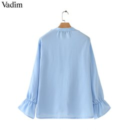 $enCountryForm.capitalKeyWord Australia - Fashion- Women Stylish Chiffon Blouse Ruffled Transparent V Neck Long Sleeve Female Summer Sweet Wear Top Blusas Lb110MX190827