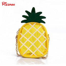 small waterproof tote bag Australia - Small Transparent Jelly Bag Mini Pineapple Bag Summer Cute Chain Shoulder Slung Mobile Phone Waterproof Fruit Style Tote