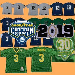 a1b4cce41 2019 Cotton Bowl Playoff Patch College Norte Dame Fighting Irish Football  Jerseys 3  Joe Montana 12 Ian Book Jersey