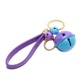 Color Leather Bags Australia - New Two-color bell key chain charm bag car key ring fashion Holder Accessories Best Gift Jewelry Leather Bell Chain