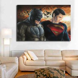 Batman Art Prints Australia - Batman Vs Superman Vintage Marvel Super Heroes Art Canvas Poster Painting Wall Picture Print For Living Room Home Bedroom Decoration