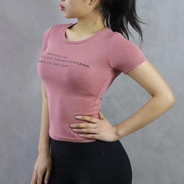 Wholesale Short Sleeves Of Sports Fast drying Women s Tight Yoga T Hidden button Sexy Fast dry Running Fitness Jacket