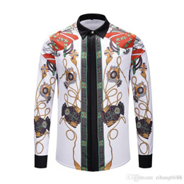 floral printed sweater NZ - casual medusa shirts 2018 Autumn winter Harajuku gold chain Dog Rose print Fashion Retro floral sweater Men's long sleeve tops shirts M