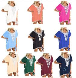 Wholesale crochet t shirts for sale – custom 2019 Chiffon Tassel Crochet Dresses Women Summer T shirt Beach Dress Short Sleeve Sexy Casual Mini Dress shirt blouse Women Apparel A3117