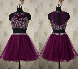 Wholesale two straps t shirts for sale - Group buy Elegant Two Pieces Purple Homecoming Dresses Beaded Sequines Formal Short Party Gown Organza Graduation Dresses For Seniors A373