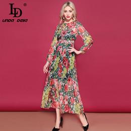 80913650ea46 LD LINDA DELLA Fashion Runway Elegant Long Dress Women's Long Sleeve Flower  Floral Print Vacation Holidays Chiffon Dress