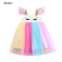 Babies Cotton Frocks Australia - Summer Unicorn Rainbow Dresses For Baby Girl TUTU Lace Costume Child Prom Party Princess Frock Children Sequins Disguise Ceremony Dress