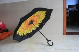 special umbrella NZ - Inverted Umbrella Double Layer Reverse Rainy Sunny Umbrella with C and J Handle Self Standing Inside Out Special Design HOT