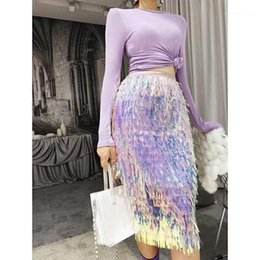 Wholesale sequined skirts resale online - Skirts Fairy High Waist Slim Half Length Skirt Hot Sell Ladies Dresses Fashion Sequined Tassel Womens