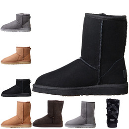 Wholesale Fashion Womens Australia Classic kneel Boots Ankle boots Black Grey chestnut high quality Women girl boots Size