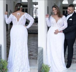Plunge Wedding Dresses UK - Vintage Lace Plus Size Wedding Dresses 2018 Plunging V Neck A Line New Long Sleeves Bridal Gowns Vestido De Novia Country Wedding Gowns