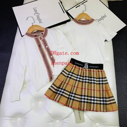 $enCountryForm.capitalKeyWord Australia - Kids Clothes T-shirt Plaid skirt Cardigan coat Sets Girl Fashion Outfits Summer Tutu Dress jacket Tops+Stripe Skirts toddler girl clothes