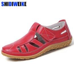 $enCountryForm.capitalKeyWord Australia - Women Gladiator Sandals Shoes Genuine Leather Hollow Out Flat Sandals Ladies Casual Soft Bottom Summer Shoes Women Beach Sandal Y19070103