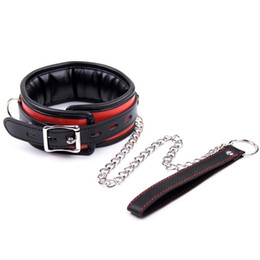 Wholesale Pu Leather Dog Collar And Leash Neck Bondage Restraint With Steel Chain Adult Slave Costume Game Sm Sex Toy For Couple Women Men Y190716
