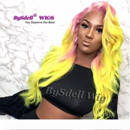 unicorn wig UK - New Arrival Unicorn Mermaid Wig Synthetic Lace Front Wig Heat Resistant Purple Pink Ombre Yellow Color Hair Front Lace Wig for Cosplay Party