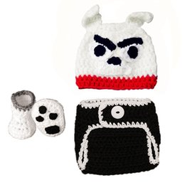 $enCountryForm.capitalKeyWord NZ - Cute Infant Bulldog Costume,Handmade Knit Crochet Baby Boy Girl Bulldog Puppy Hat,Diaper Cover and Booties Set,Newborn Photo Prop