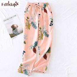 Cotton Thin Woman Trouser Australia - Fdfklak New cotton sleepwear pant long women's pants print lounge wear pajama pants spring summer thin trousers for women