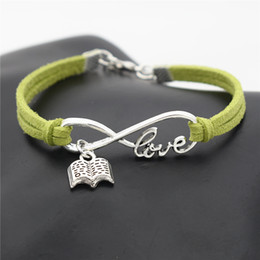 $enCountryForm.capitalKeyWord Australia - Fashion Silver Infinity Love Book Letter Pendant Bracelets & Bangles Green Leather Suede Rope Jewelry Birthday Christmas Valentine Day Gifts