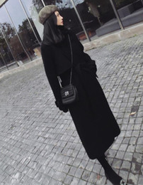 $enCountryForm.capitalKeyWord Australia - Special offer 2019 black new explosion models hot long paragraph over the knee wool coat female loose tie woolen coat Hepburn wind