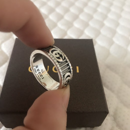 Antique bAnd box online shopping - 925 sterling silver gg rings fine jewelry ring for mens and womens vintage antique silver hand made Hip hop rings gift With box
