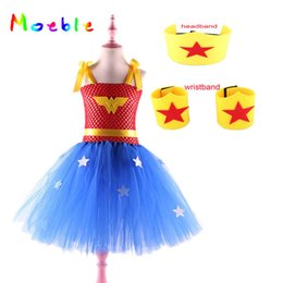 Wholesale wonder woman superhero costume online – ideas Superhero Wonder Woman Cosplay Birthday Girls Tutu Dress Princess Halloween Christmas Costume Kids Party Dresses for Girl set LY191227