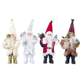 Wholesale New Christmas Santa Claus Doll Ornament Decoration Figurine Collection Standing Tradition Tabel Decor Red Black With Tree