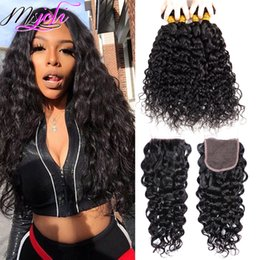 Wet curly closure online shopping - Msjoli Brazilian Virgin Hair Water Wave Bundles With Closure Brazilian Hair Weave Wet And Wavy Human Hair Bundles With Lace Closure