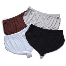 Wholesale Mens White Boxer Shorts Australia - 2019 New Silk Boxer Underwear Men Sexy Low Waist Shorts Comfort Soft Loose Mens Boxers Homme Slip Homme Boy Home Clothes Sleepwear