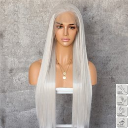 Discount wig lace front hair white - Halloween Silvery White Long Silky Straight Heat Resistant Fiber Hair Daily Makeup Layer Synthetic Lace Front Wigs for C