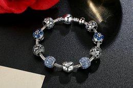 Tibetan Silver White Bracelet Australia - Fine Tibetan silver Beads Bracelet Pandora Charms Glass Beads DIY Beaded Strands Bracelet Pink White Blu.e Green 4 Colors Optional