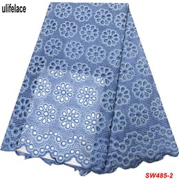 blue dry lace NZ - 2019 High Quality Blue dry Cotton African Lace Fabrics Embroidered Nigerian Lace Fabrics Newest Eyelet Circle Dress Fabric SW-485