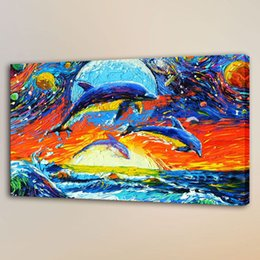 Chinese  Van Gogh Dolphins Living,HD Canvas Print Home Decor Art Painting Unframed Framed manufacturers