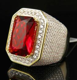 $enCountryForm.capitalKeyWord Australia - Gold Red Gemstone Ring Rhinestone mens ring hip hop jewelry luxury diamond Zircon ring Wedding Band fashion Jewelry