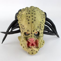 full face alien mask Australia - Latex Movie Alien Predator Cosplay Mask Costume Helmet Props Antenna Halloween Party Horror Full Face Head Mask toys SH190922