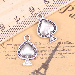 $enCountryForm.capitalKeyWord Australia - 9pcs Jewelry Charms poker spades 12x18mm Antique Silver Plated Pendants Making DIY Handmade Tibetan Silver Jewelry