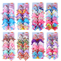 "$enCountryForm.capitalKeyWord Australia - 48 color 5"" JOJO hair Bow girl colorful print Barrettes Girl Hair Accessories Rainbow Unicorn kids Unicorn party hair clipper"